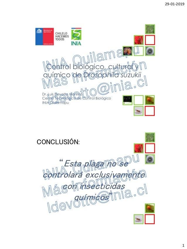 29-01-2019 1 Control biológico, cultural y químico de Drosophila suzukii Dr. Luis Devotto Moreno Centro Tecnológico de Con...