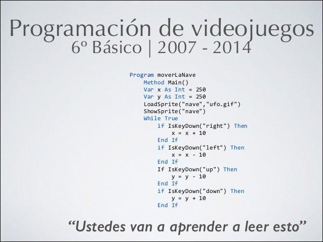 Programación de videojuegos 6º Básico   2007 - 2014 Program  moverLaNave           Method  Main()      ...