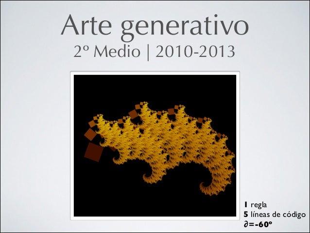 Arte generativo 2º Medio   2010-2013  1 regla  5 líneas de código  ∂=-60º