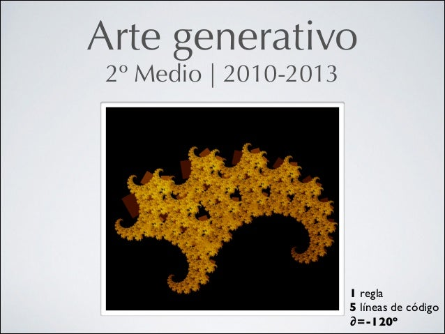 Arte generativo 2º Medio   2010-2013  1 regla  5 líneas de código  ∂=-120º