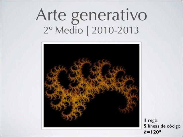 Arte generativo 2º Medio   2010-2013  1 regla  5 líneas de código  ∂=120º