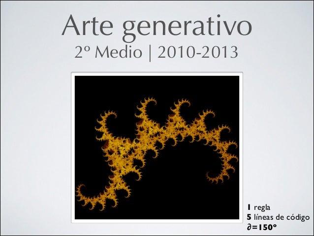 Arte generativo 2º Medio   2010-2013  1 regla  5 líneas de código  ∂=150º
