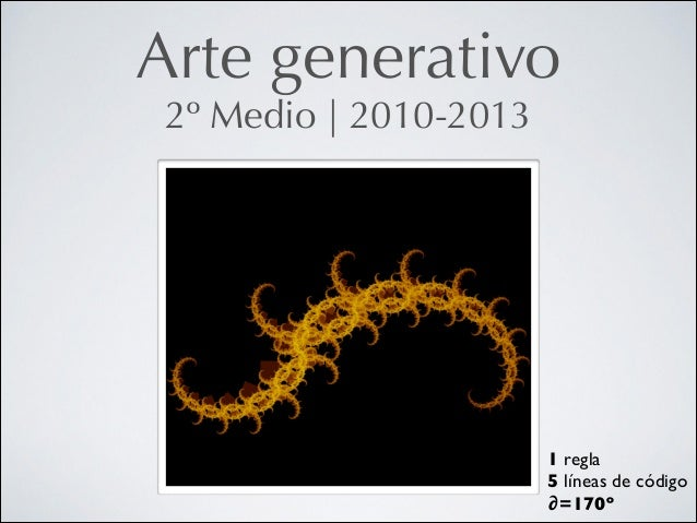 Arte generativo 2º Medio   2010-2013  1 regla  5 líneas de código  ∂=170º