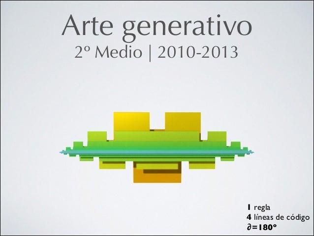 Arte generativo 2º Medio   2010-2013  1 regla  4 líneas de código  ∂=180º