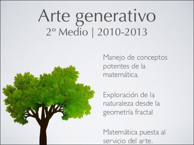Arte generativo 2º Medio   2010-2013  Manejo de conceptos potentes de la matemática.  !  Exploración de la naturaleza des...