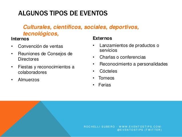 ALGUNOS TIPOS DE EVENTOS      Culturales, científicos, sociales, deportivos,      tecnológicos,Internos                   ...
