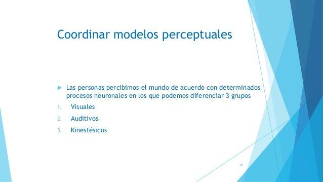 Coordinar modelos perceptuales  Las personas percibimos el mundo de acuerdo con determinados procesos neuronales en los q...