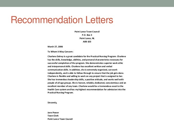 Nursing School Recommendation Letter Sample: Charlene Dohey