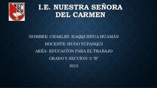 I.E. NUESTRA SEÑORA DEL CARMEN NOMBRE: CHARLES HAQQUEHUA HUAMÁN DOCENTE: HUGO YUPANQUI ARÉA: EDUCACÍON PARA EL TRABAJO GRA...
