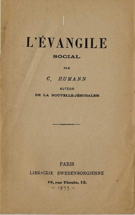 Charles humann-l'evangile-social-librairie-swedenborgienne-paris-1893
