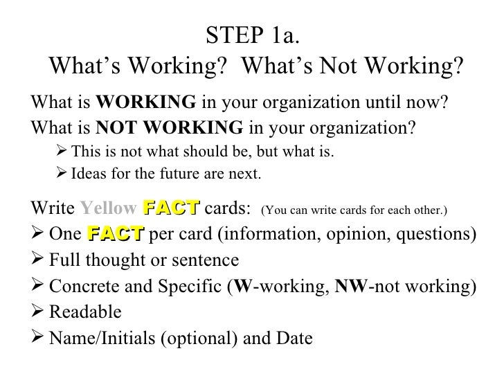 STEP 1a.  What's Working?  What's Not Working? <ul><li>What is  WORKING  in your organization until now?  </li></ul><ul><l...