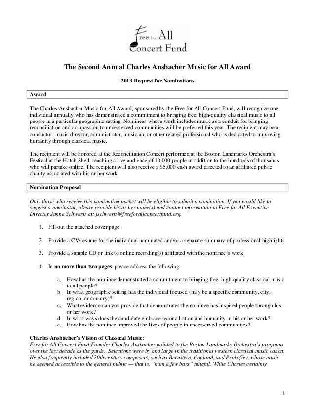 The Second Annual Charles Ansbacher Music for All Award                                          2013 Request for Nominati...