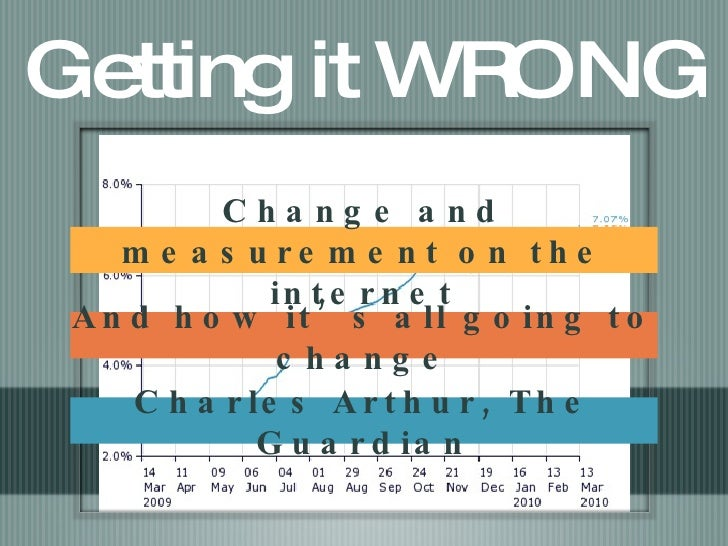 Getting it WRONG Change and measurement on the internet And how it's all going to change Charles Arthur, The Guardian