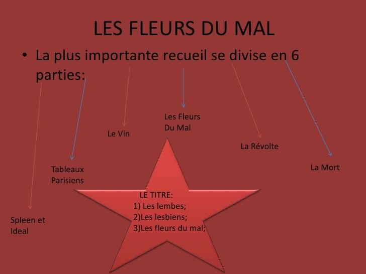 LES FLEURS DU MAL<br />La plus importante recueil se divise en 6 parties:<br />LesFleurs<br />Du Mal<br />Le Vin<br />La R...