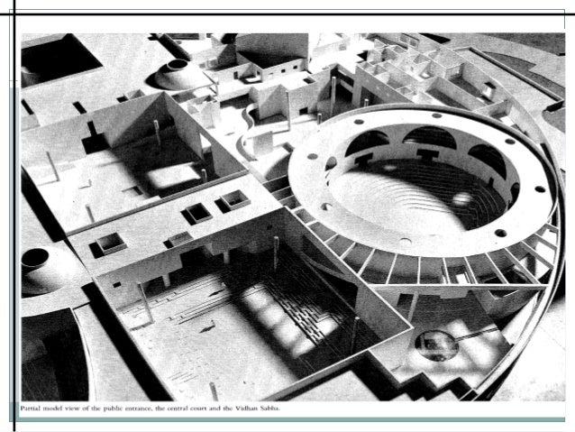 Correa has used open to sky courtyards and a labyrinthine pattern of pathways to organise the complex requirements of admi...