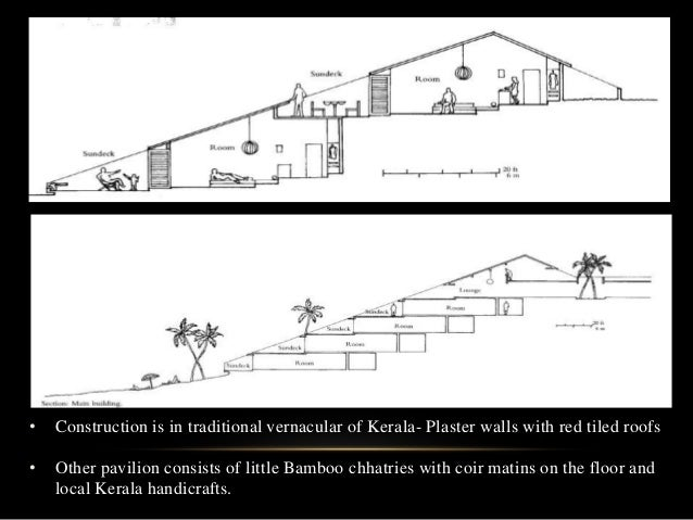 • Construction is in traditional vernacular of Kerala- Plaster walls with red tiled roofs • Other pavilion consists of lit...