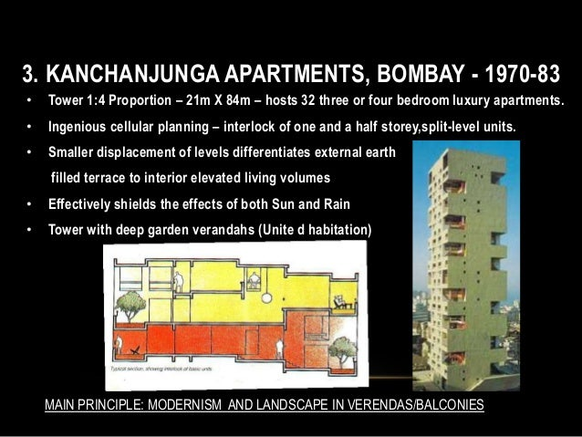 3. KANCHANJUNGA APARTMENTS, BOMBAY - 1970-83 • Tower 1:4 Proportion – 21m X 84m – hosts 32 three or four bedroom luxury ap...