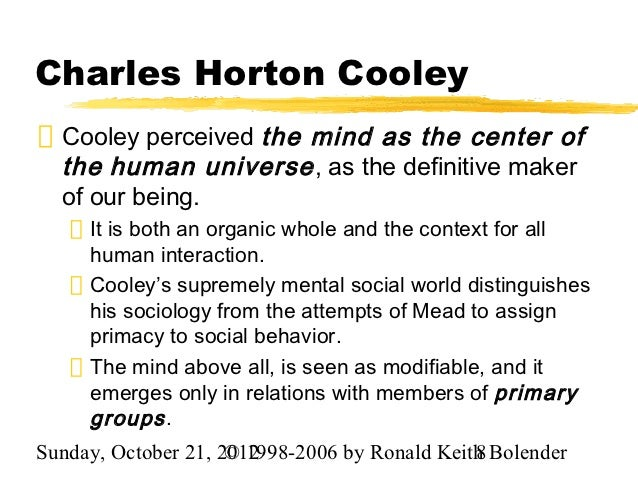 an analysis of society and individuals by charles horton cooley Cooley sought to abolish the dualisms of society/individual and body/mind,  emphasizing instead their interconnections, and conceptualizing them as   show summary details  search for: 'charles horton cooley' in oxford  reference .