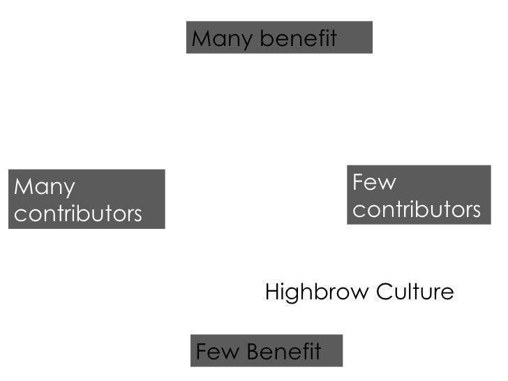 Few Benefit Many benefit Many contributors Few contributors Highbrow Culture