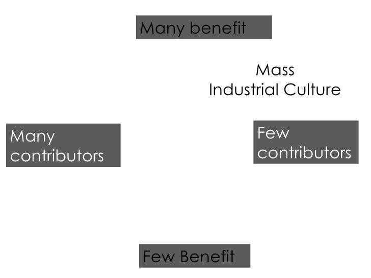 Few Benefit Many benefit Many contributors Few contributors Mass Industrial Culture