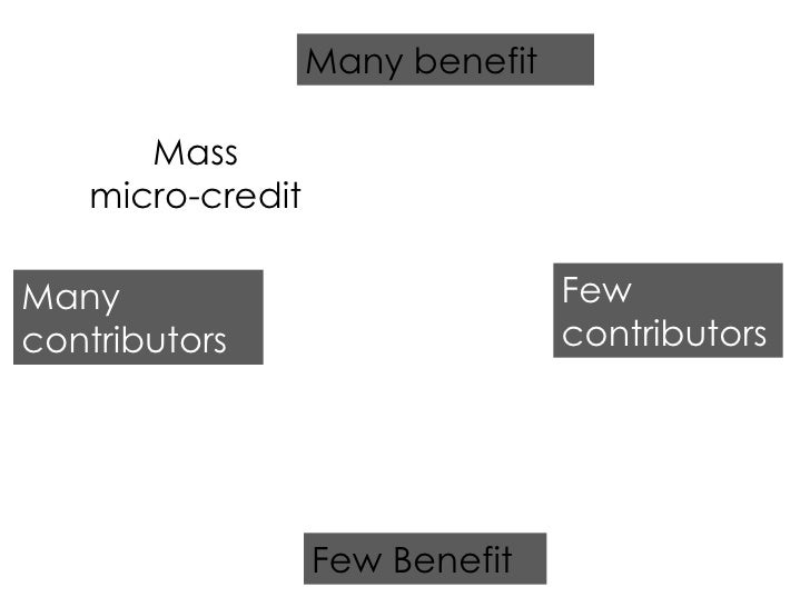 Few Benefit Many benefit Many contributors Few contributors Mass micro-credit