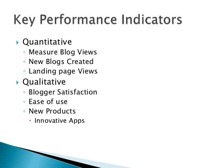    Quantitative    ◦ Measure Blog Views    ◦ New Blogs Created    ◦ Landing page Views   Qualitative    ◦ Blogger Satisf...