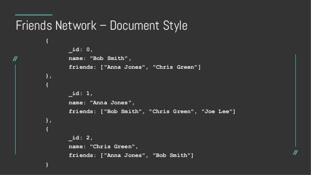 Schema Design – before $graphLookup • Options • Store an array of direct children in each node • Store parent in each node...