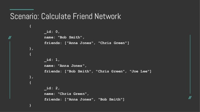 """Scenario: Calculate Friend Network [ { $match: { """"name"""": """"Bob Smith"""" } }, { $graphLookup: { from: """"contacts"""", startWith: """"..."""