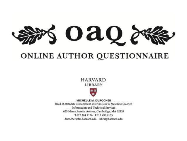 What I'll be covering today: The Author Names project and development of the OAQ platform Why did we undertake the project...