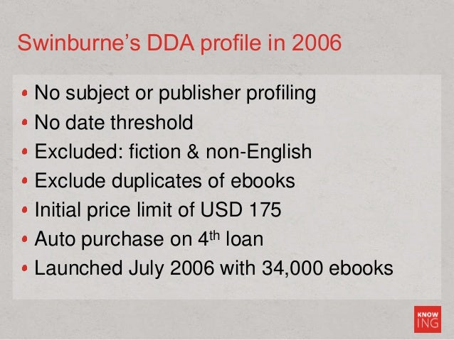 Swinburne's DDA profile in 2006 No subject or publisher profiling No date threshold Excluded: fiction & non-English Exclud...