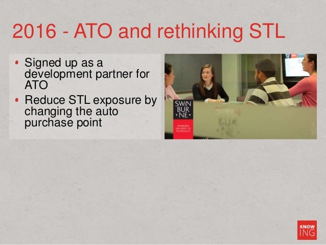 Signed up as a development partner for ATO Reduce STL exposure by changing the auto purchase point 2016 - ATO and rethinki...