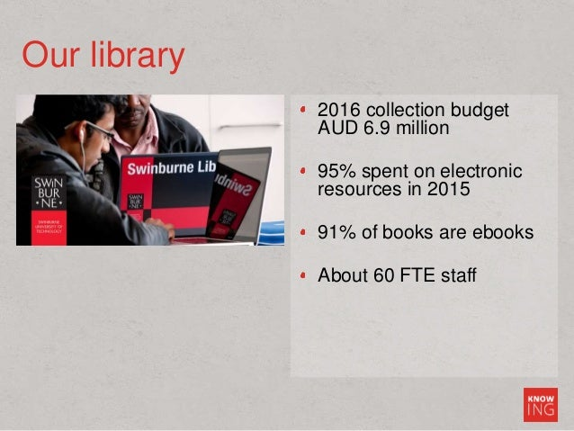 Our library 2016 collection budget AUD 6.9 million 95% spent on electronic resources in 2015 91% of books are ebooks About...