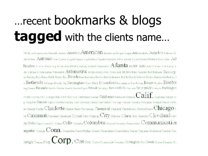 … recent  bookmarks & blogs  tagged  with the clients name…