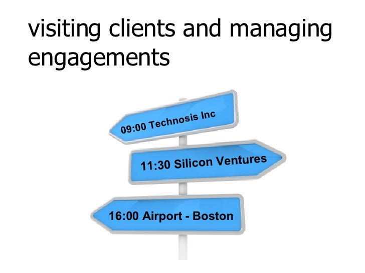 visiting clients and managing engagements 09:00 Technosis Inc 11:30 Silicon Ventures 16:00 Airport - Boston