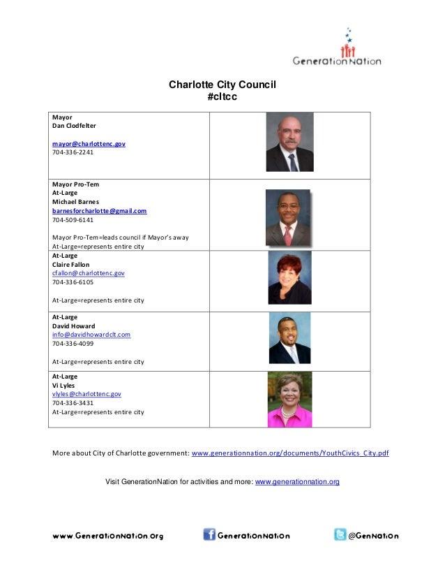 www.GenerationNation.org GenerationNation @GenNation Charlotte City Council #cltcc Mayor DanClodfelter  mayor@charlott...