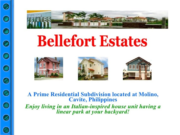 A Prime Residential Subdivision located at Molino, Cavite, Philippines Enjoy living in an Italian-inspired house unit havi...