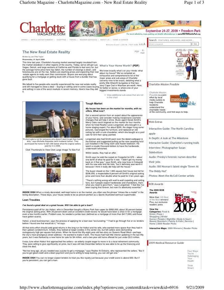 Charlotte Magazine - CharlotteMagazine.com - New Real Estate Reality                                                      ...