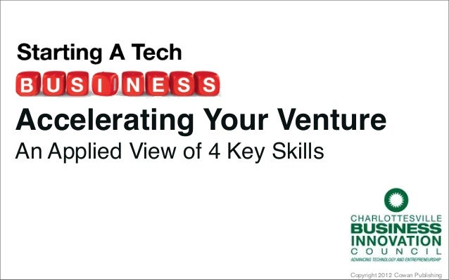 Copyright 2012 Cowan PublishingAccelerating Your VentureAn Applied View of 4 Key Skills