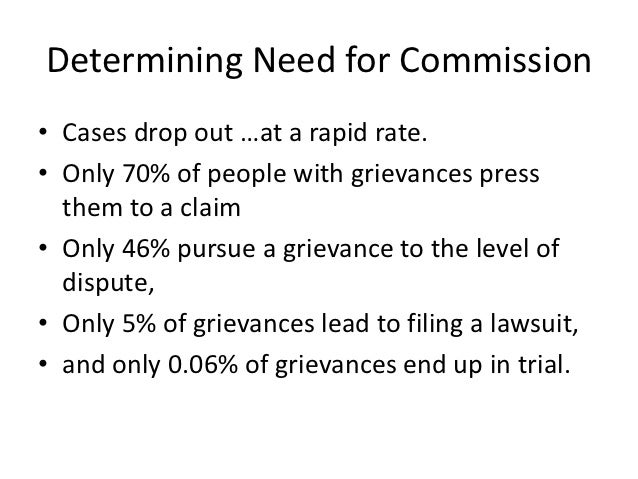 Determining Need for Commission• Cases drop out …at a rapid rate.• Only 70% of people with grievances press  them to a cla...