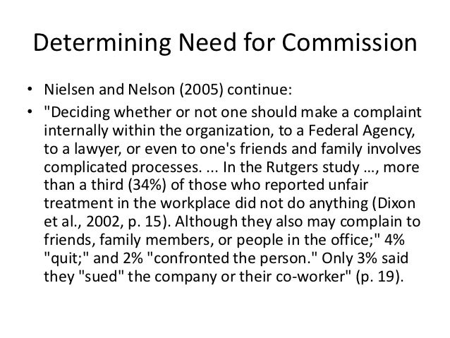 """Determining Need for Commission• Nielsen and Nelson (2005) continue:• """"Deciding whether or not one should make a complaint..."""