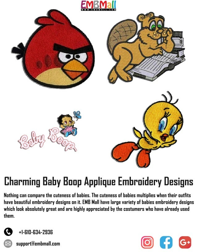 Charming Baby Boop Applique Embroidery Designs