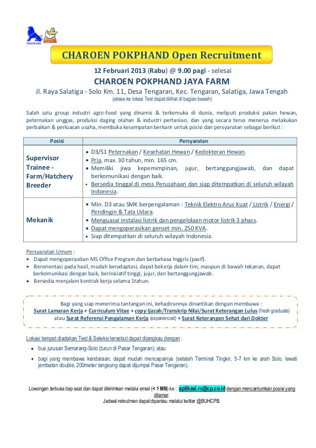 Charoen Pokphand Open Recruitment At Salatiga 12 Feb 2014