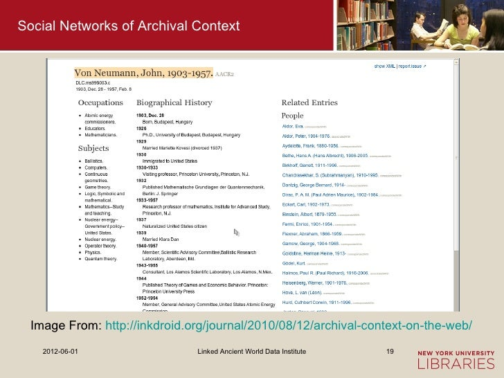 Social Networks of Archival Context  Image From: http://inkdroid.org/journal/2010/08/12/archival-context-on-the-web/    20...