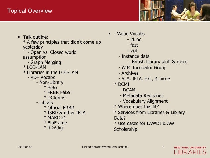 Topical Overview                                                      • - Value Vocabs   • Talk outline:                  ...