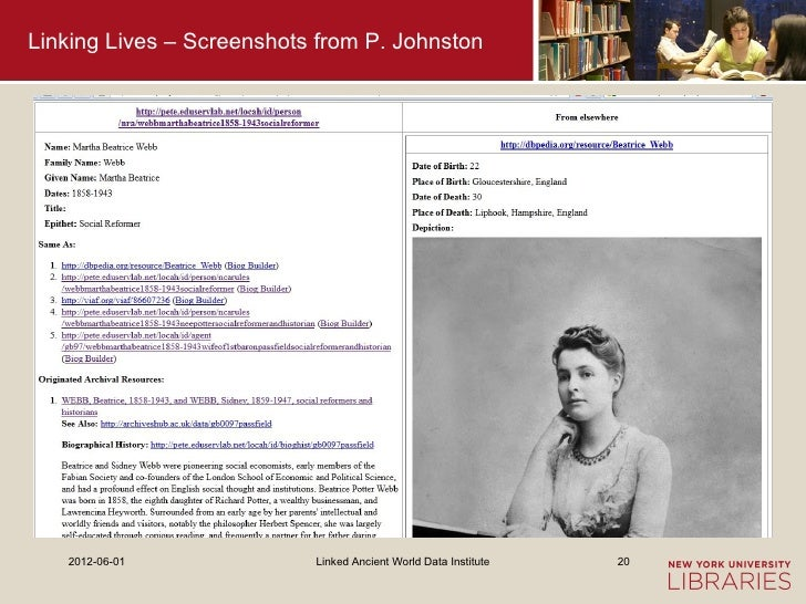 Linking Lives – Screenshots from P. Johnston   2012-06-01              Linked Ancient World Data Institute   20