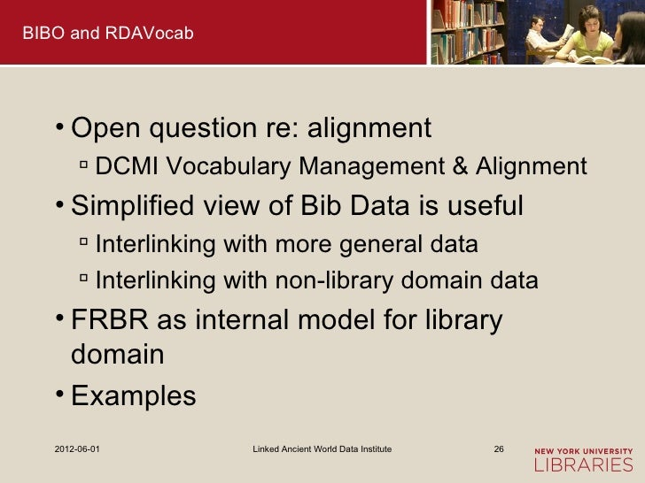 BIBO and RDAVocab   • Open question re: alignment         DCMI Vocabulary Management & Alignment   • Simplified view of B...