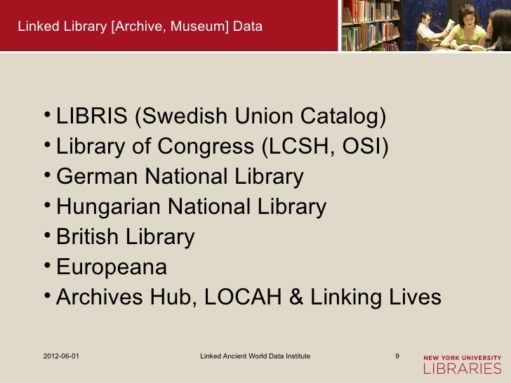 Linked Library [Archive, Museum] Data   • LIBRIS (Swedish Union Catalog)   • Library of Congress (LCSH, OSI)   • German Na...