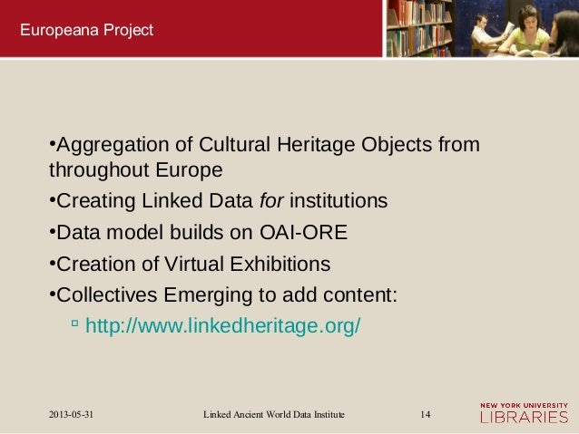 Linked Ancient World Data Institute2013-05-31 14Europeana Project●Aggregation of Cultural Heritage Objects fromthroughout ...