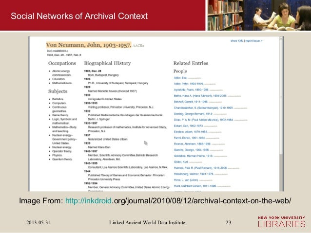 Linked Ancient World Data Institute2013-05-31 23Social Networks of Archival ContextImage From: http://inkdroid.org/journal...