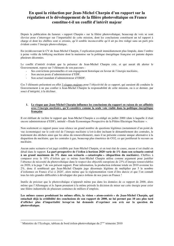 En quoi la rédaction par Jean-Michel Charpin d'un rapport sur la         régulation et le développement de la filière phot...